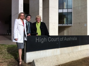 Ron Williams, Maria Proctor (Humanist Society of Queensland) and me outside the High Court in 2011. Photo by Nelson Lau.
