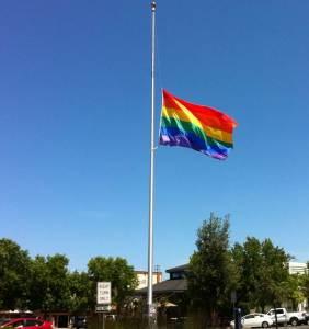 rainbow flag halfmast